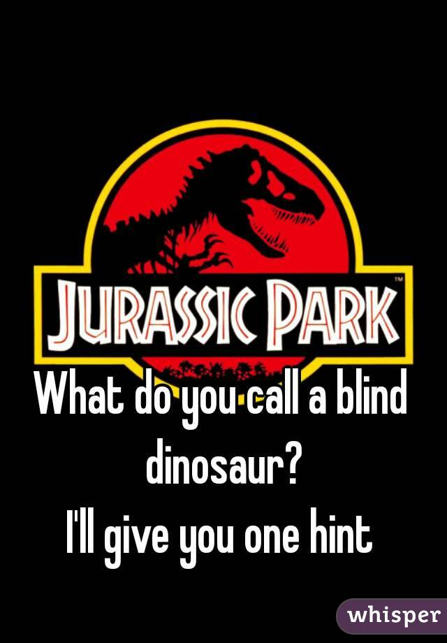 What do you call a blind dinosaur? I'll give you one hint