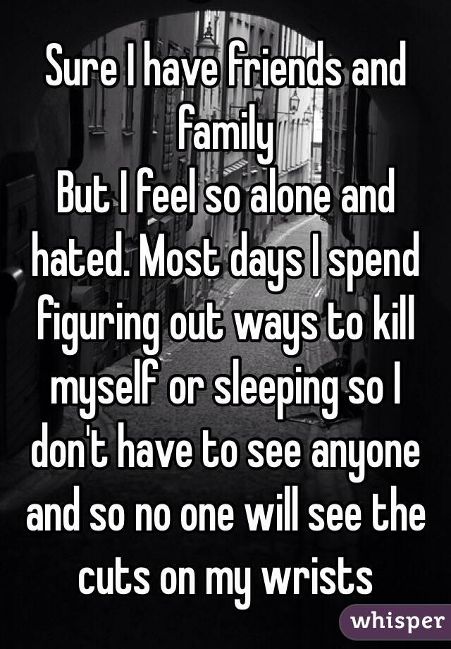 Sure I have friends and family  But I feel so alone and hated. Most days I spend figuring out ways to kill myself or sleeping so I don't have to see anyone and so no one will see the cuts on my wrists