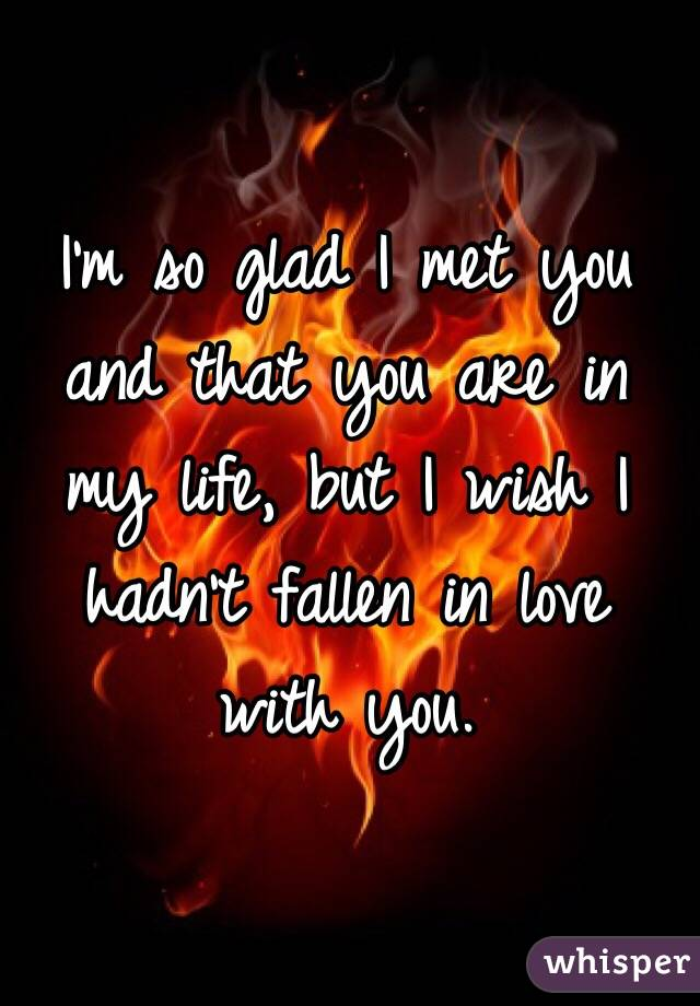 I'm so glad I met you and that you are in my life, but I wish I hadn't fallen in love with you.