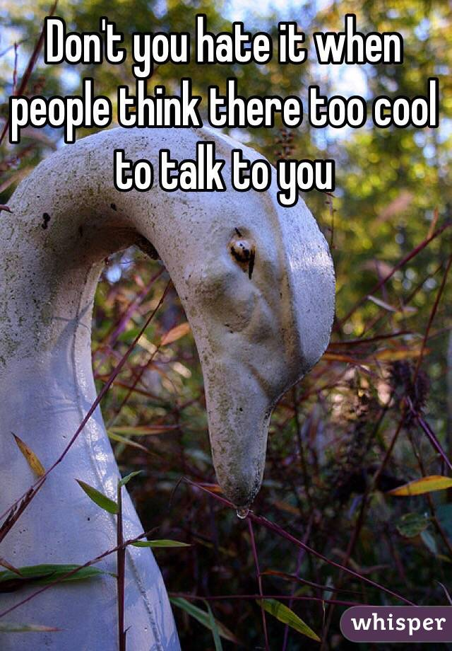 Don't you hate it when people think there too cool to talk to you