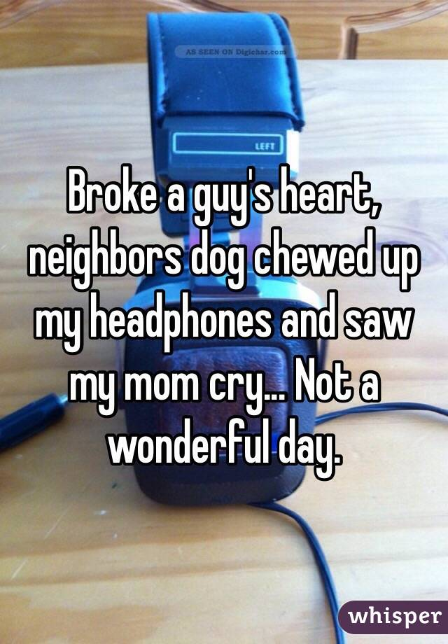 Broke a guy's heart, neighbors dog chewed up my headphones and saw my mom cry... Not a wonderful day.