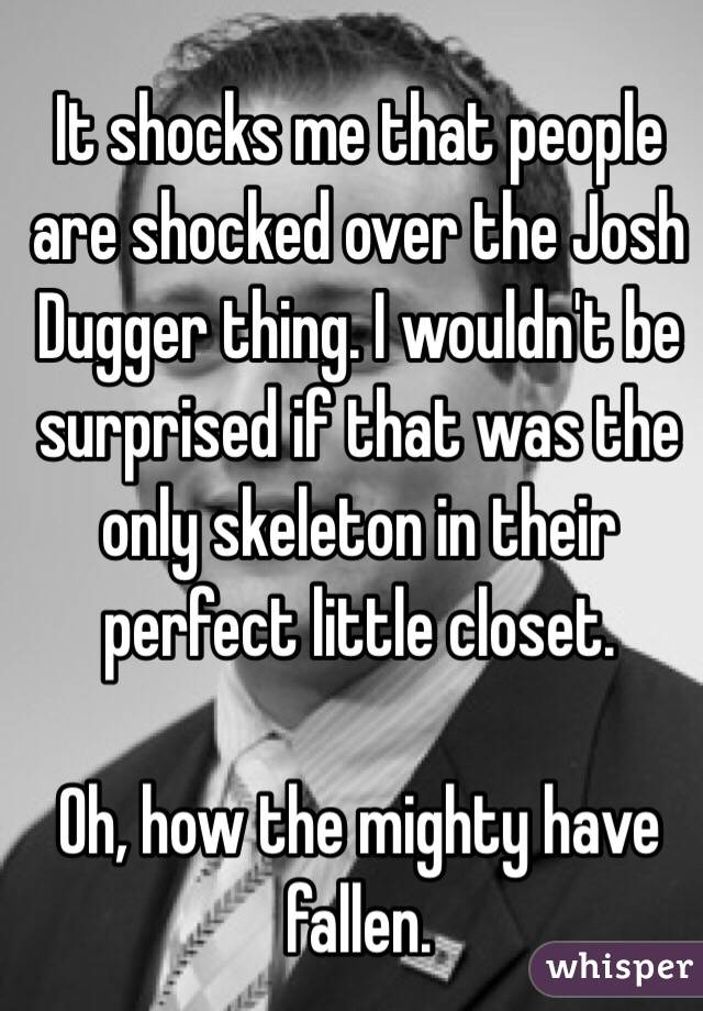 It shocks me that people are shocked over the Josh Dugger thing. I wouldn't be surprised if that was the only skeleton in their perfect little closet.   Oh, how the mighty have fallen.