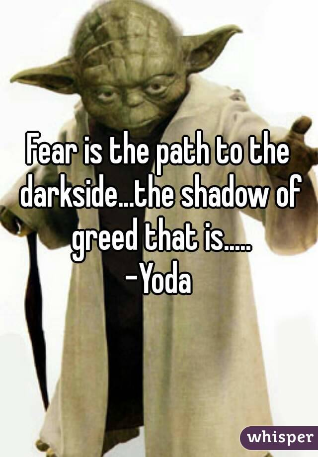 Fear is the path to the darkside...the shadow of greed that is..... -Yoda