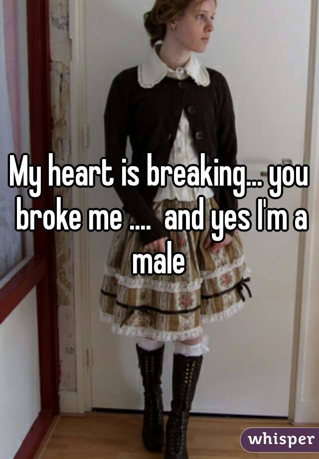 My heart is breaking... you broke me ....  and yes I'm a male