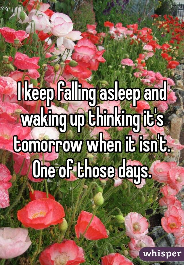 I keep falling asleep and waking up thinking it's tomorrow when it isn't. One of those days.