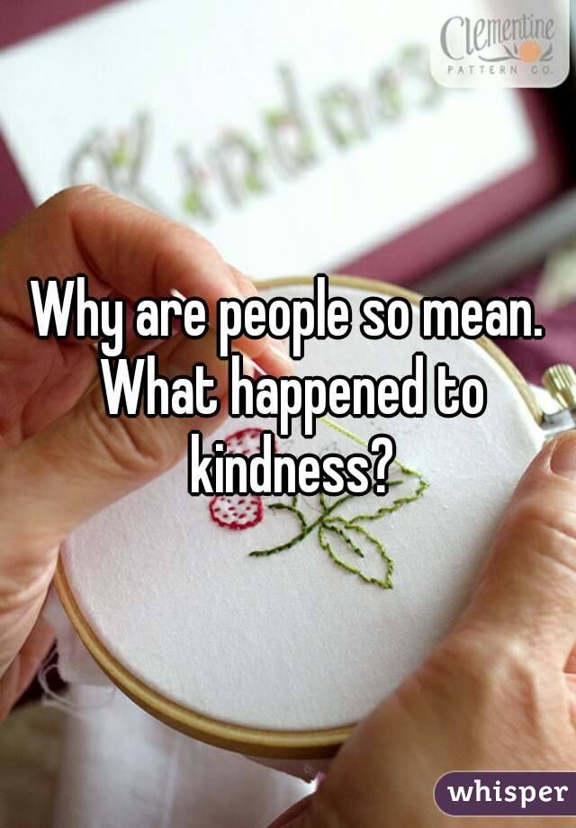 Why are people so mean. What happened to kindness?