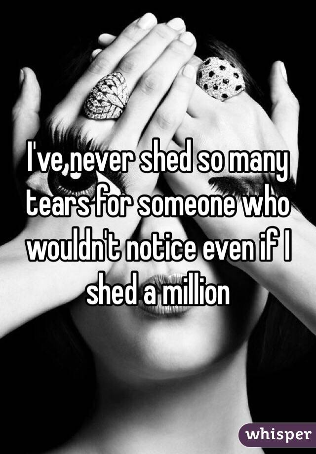 I've never shed so many tears for someone who wouldn't notice even if I shed a million