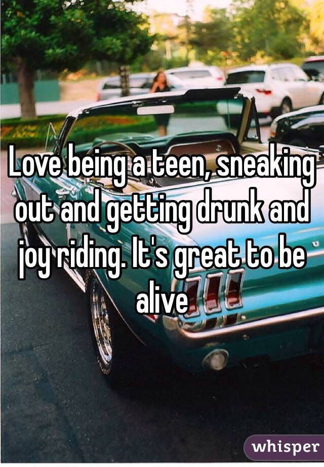 Love being a teen, sneaking out and getting drunk and joy riding. It's great to be alive