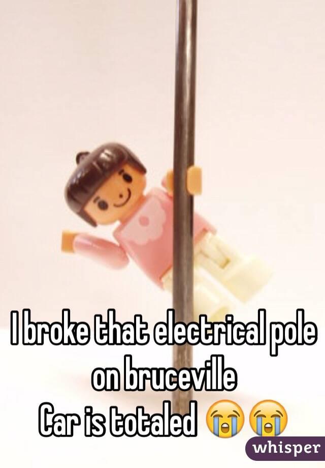 I broke that electrical pole on bruceville Car is totaled 😭😭