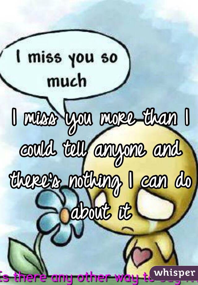 I miss you more than I could tell anyone and there's nothing I can do about it