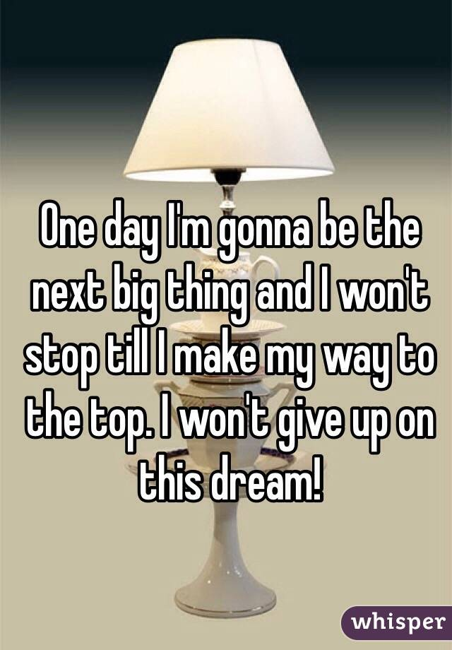 One day I'm gonna be the next big thing and I won't stop till I make my way to the top. I won't give up on this dream!