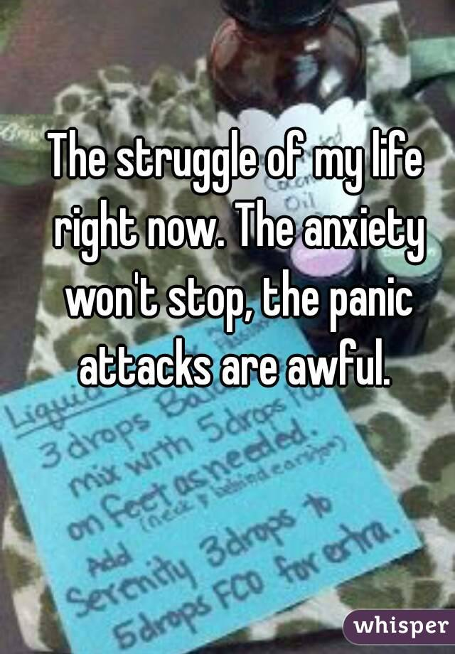 The struggle of my life right now. The anxiety won't stop, the panic attacks are awful.