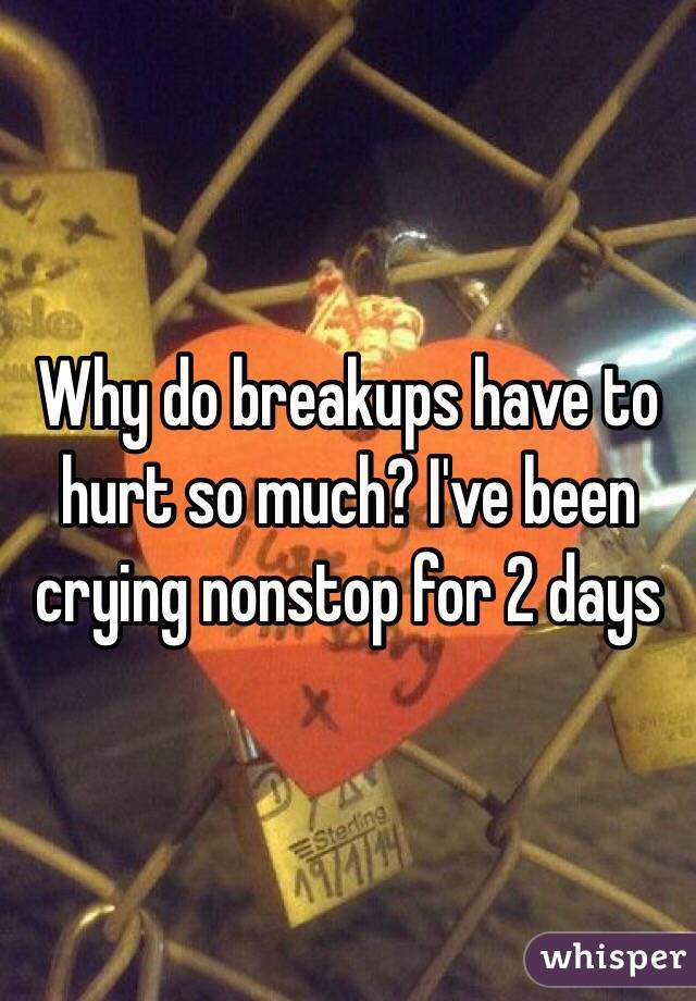 Why do breakups have to hurt so much? I've been crying nonstop for 2 days