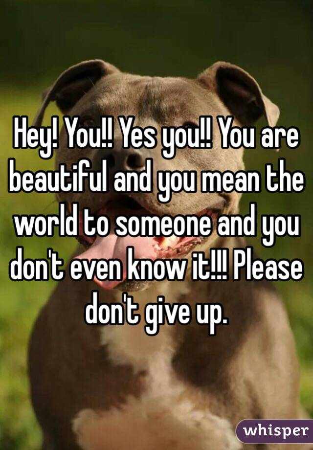Hey! You!! Yes you!! You are beautiful and you mean the world to someone and you don't even know it!!! Please don't give up.