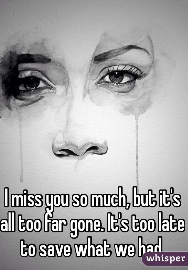 I miss you so much, but it's all too far gone. It's too late to save what we had.
