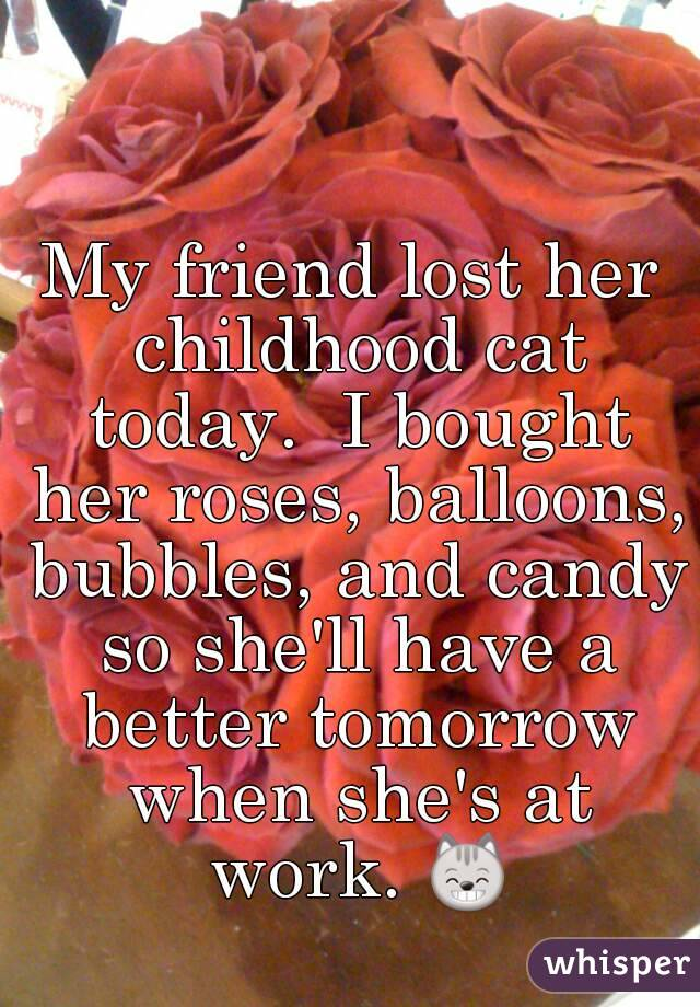 My friend lost her childhood cat today.  I bought her roses, balloons, bubbles, and candy so she'll have a better tomorrow when she's at work. 😸