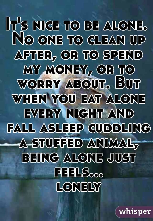 It's nice to be alone. No one to clean up after, or to spend my money, or to worry about. But when you eat alone every night and fall asleep cuddling a stuffed animal, being alone just feels... lonely