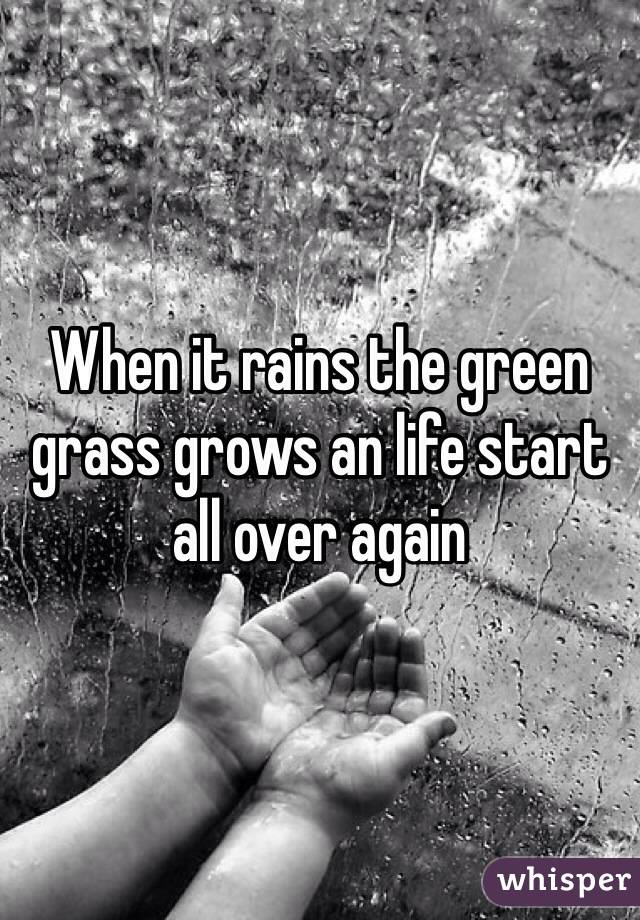 When it rains the green grass grows an life start all over again