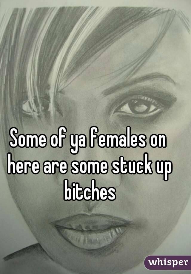 Some of ya females on here are some stuck up bitches