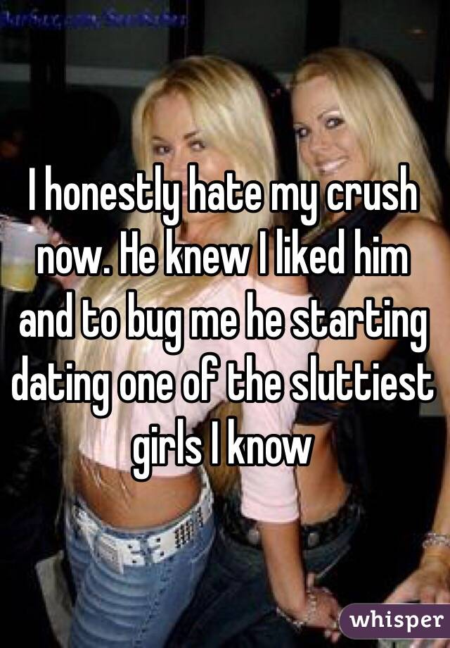 I honestly hate my crush now. He knew I liked him and to bug me he starting dating one of the sluttiest girls I know