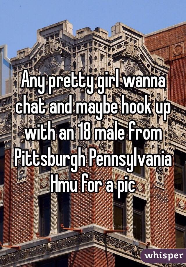 Any pretty girl wanna chat and maybe hook up with an 18 male from Pittsburgh Pennsylvania Hmu for a pic