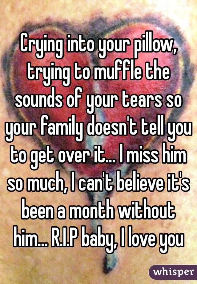 Crying into your pillow, trying to muffle the sounds of your tears so your family doesn't tell you to get over it... I miss him so much, I can't believe it's been a month without him... R.I.P baby, I love you
