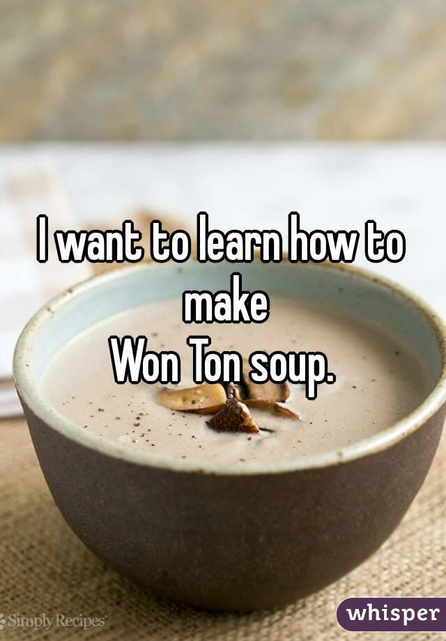 I want to learn how to make Won Ton soup.