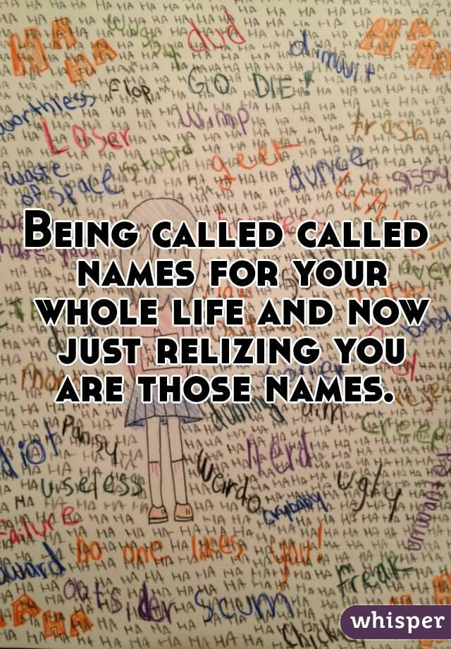 Being called called names for your whole life and now just relizing you are those names.