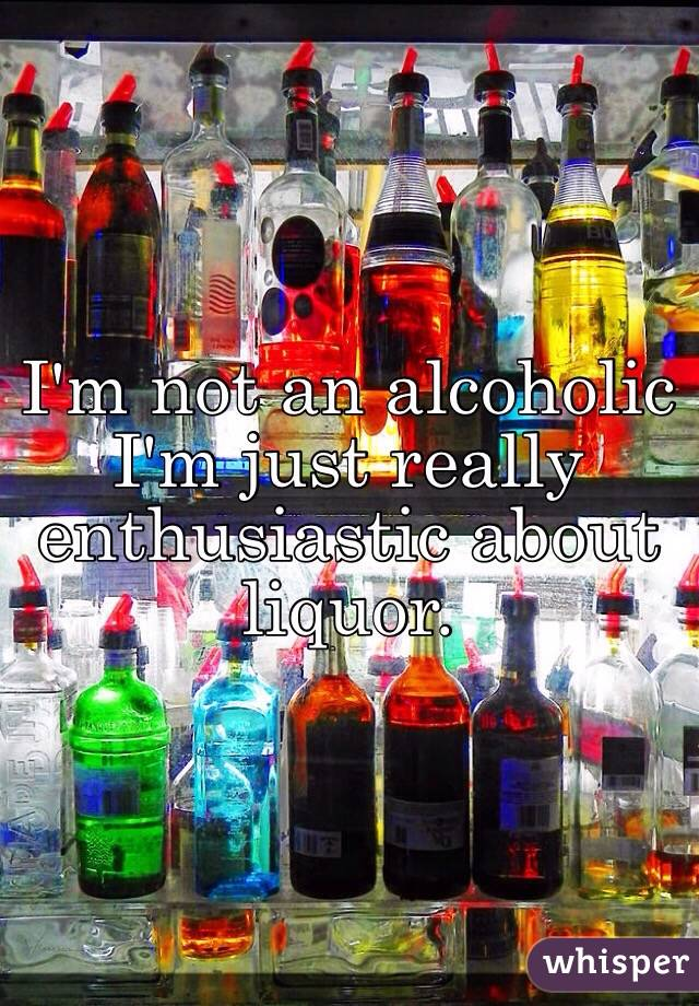 I'm not an alcoholic I'm just really enthusiastic about liquor.