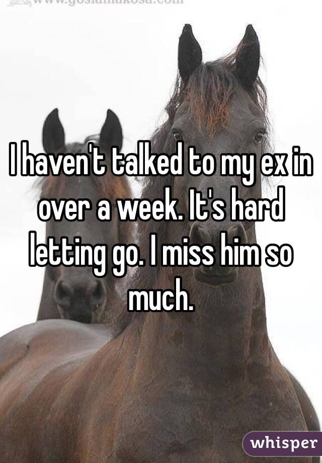 I haven't talked to my ex in over a week. It's hard letting go. I miss him so much.