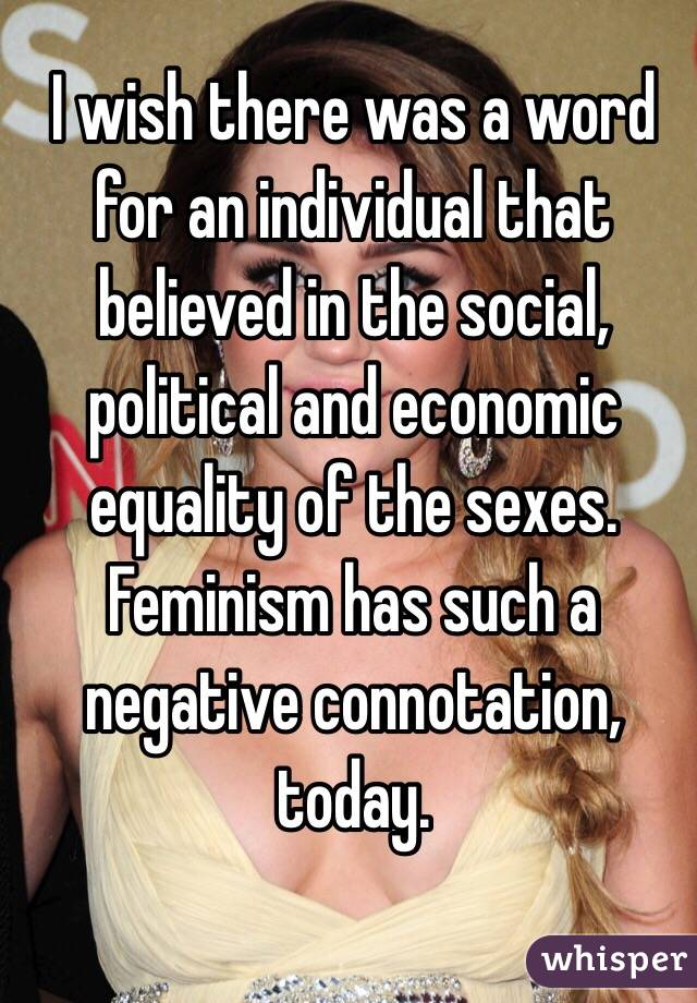 I wish there was a word for an individual that believed in the social, political and economic equality of the sexes. Feminism has such a negative connotation, today.