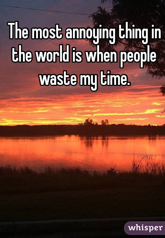 The most annoying thing in the world is when people waste my time.