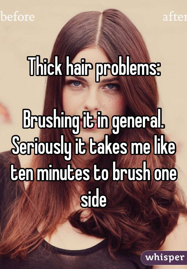 Thick hair problems:  Brushing it in general. Seriously it takes me like ten minutes to brush one side