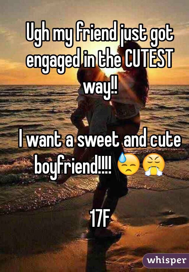 Ugh my friend just got engaged in the CUTEST way!!    I want a sweet and cute boyfriend!!!! 😓😤   17F