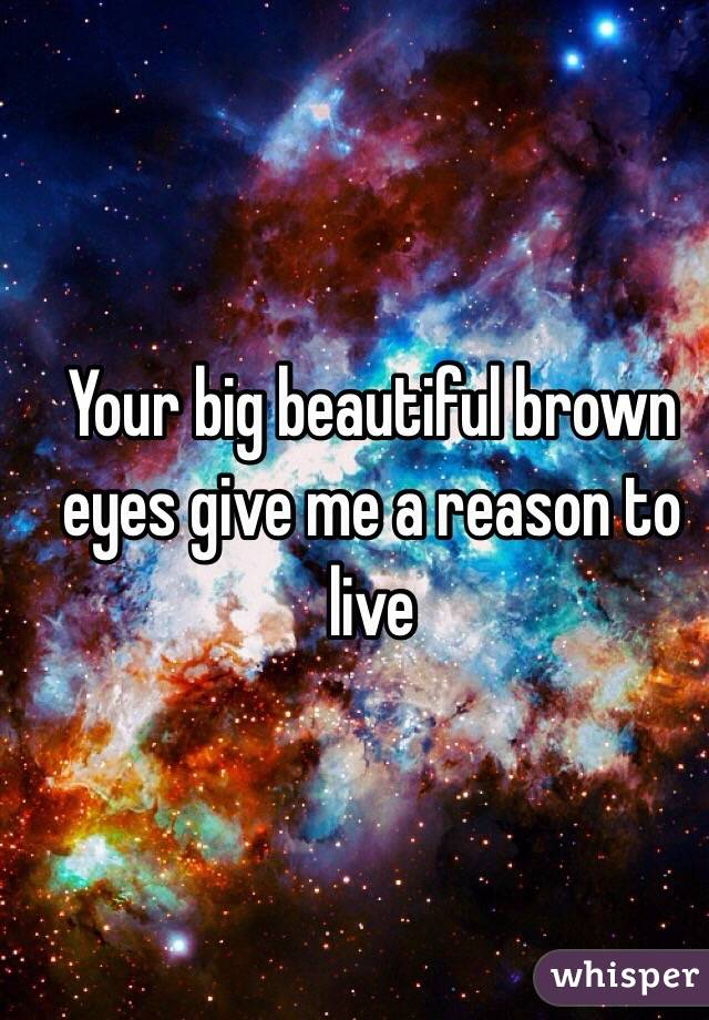 Your big beautiful brown eyes give me a reason to live