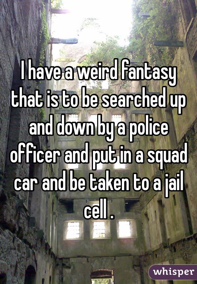 I have a weird fantasy that is to be searched up and down by a police officer and put in a squad car and be taken to a jail cell .