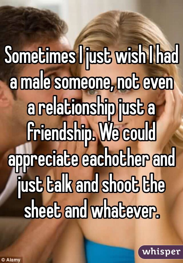 Sometimes I just wish I had a male someone, not even a relationship just a friendship. We could appreciate eachother and just talk and shoot the sheet and whatever.