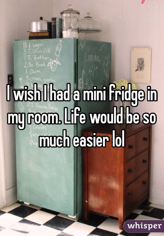I wish I had a mini fridge in my room. Life would be so much easier lol