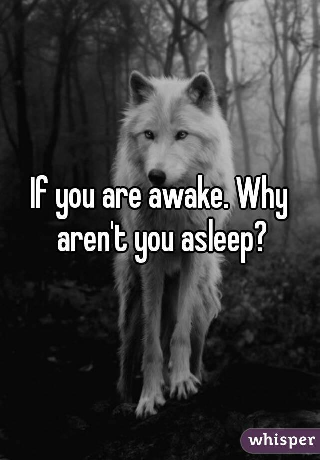 If you are awake. Why aren't you asleep?