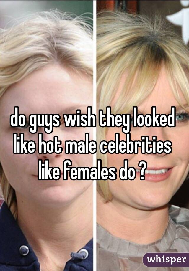 do guys wish they looked like hot male celebrities like females do ?