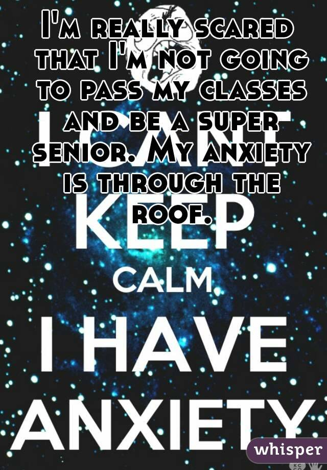 I'm really scared that I'm not going to pass my classes and be a super senior. My anxiety is through the roof.
