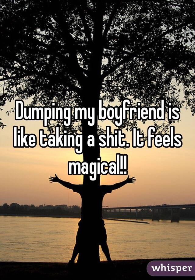 Dumping my boyfriend is like taking a shit. It feels magical!!