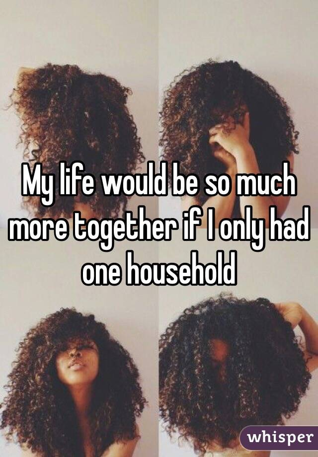 My life would be so much more together if I only had one household