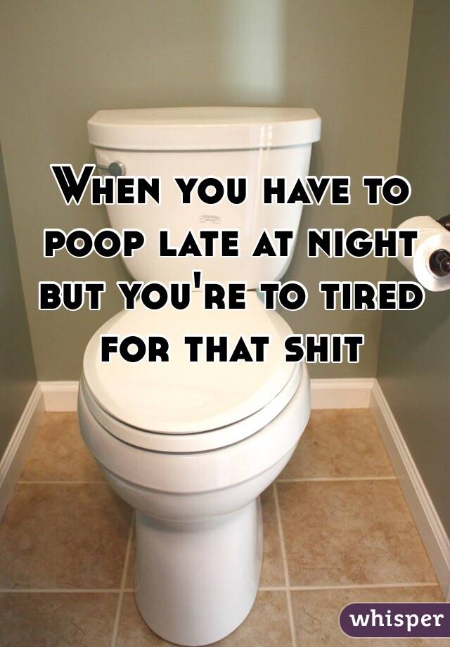 When you have to poop late at night but you're to tired for that shit