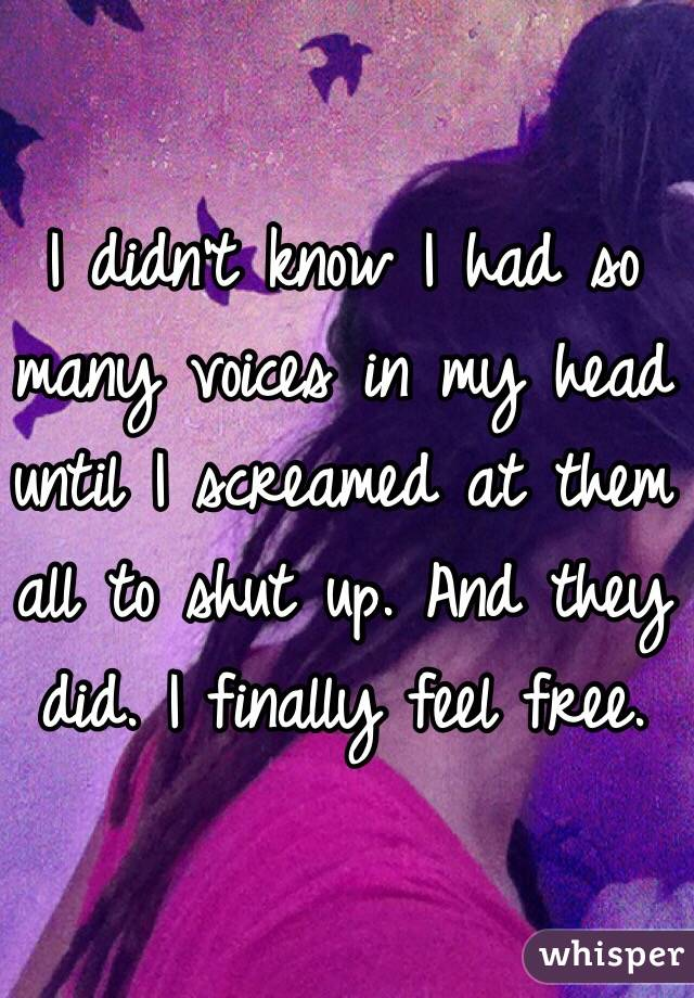 I didn't know I had so many voices in my head until I screamed at them all to shut up. And they did. I finally feel free.