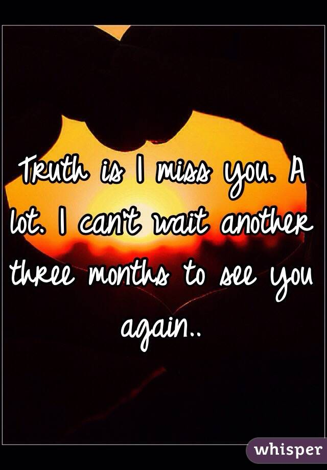 Truth is I miss you. A lot. I can't wait another three months to see you again..