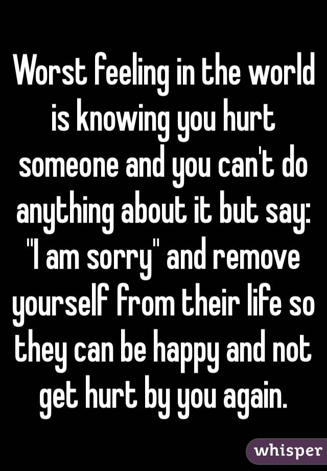 "Worst feeling in the world is knowing you hurt someone and you can't do anything about it but say: ""I am sorry"" and remove yourself from their life so they can be happy and not get hurt by you again."