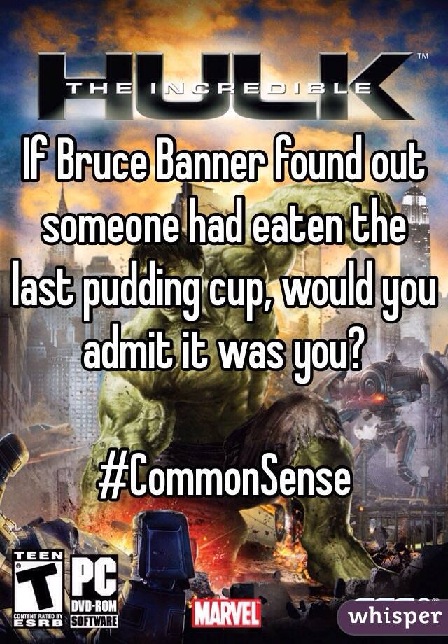 If Bruce Banner found out someone had eaten the last pudding cup, would you admit it was you?   #CommonSense