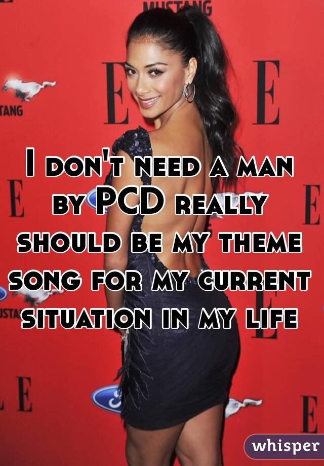 I don't need a man by PCD really should be my theme song for my current situation in my life