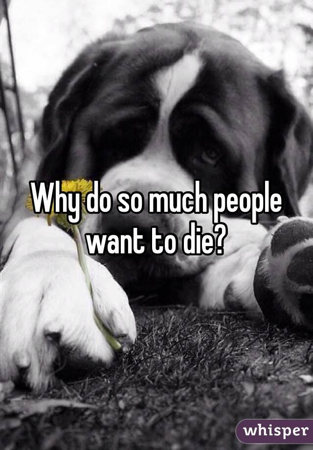 Why do so much people want to die?